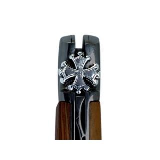 LAGUIOLE AVEYRON DAMIER EBENE/BOIS DE ROSE 12CM INOX MAT